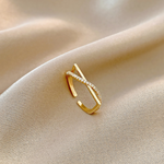 bijou cross gold ring r056