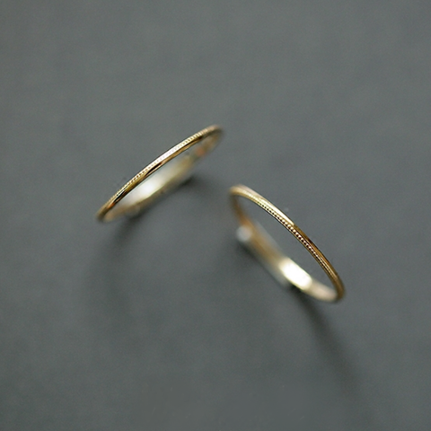 14K simple slim ring K9