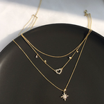「order」heart star layered necklace n033