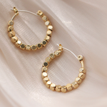 square beads hoop pierce gold p043