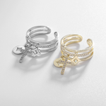 「order」cross layered ring gold/silver r043