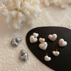 「order」white cotton pearl double heart pierce p045