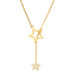 「order」double star chain necklace gold/silver n044