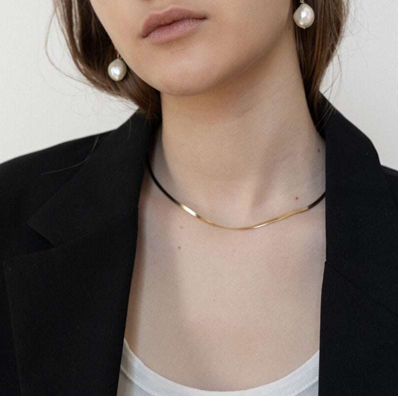 snake chain necklace K18 n001