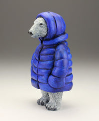 Polar Bear with bright blue parka