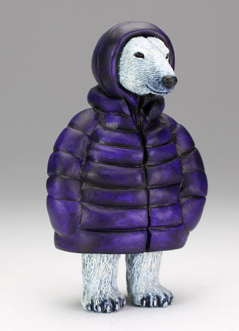 Polar Bear with purple parka - two available