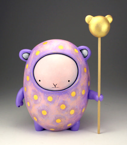 Gold Spotted Woot Bear - pink face with gold bear head staff