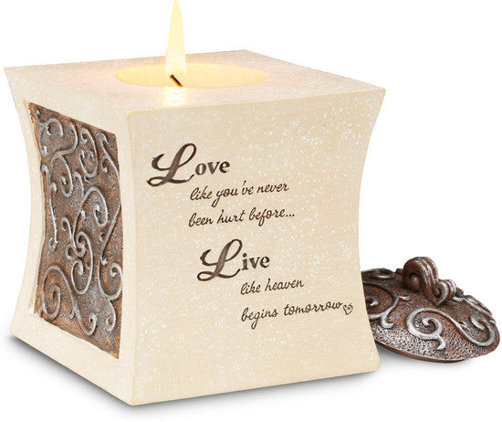 Love Like You've Never Been Hurt Before Square Candle Holder by Comfort To Go - Beloved Gift Shop