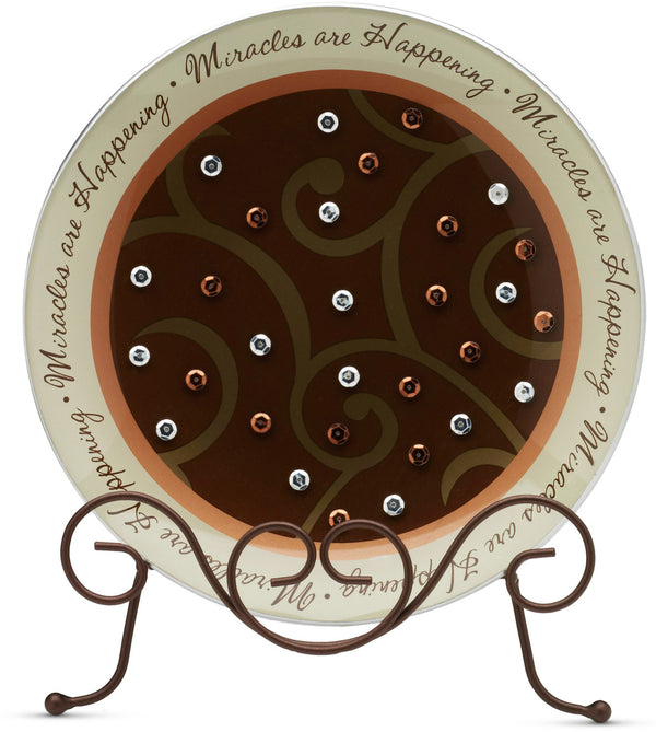 Miracles are Happening Round Plate Glass Plate - Beloved Gift Shop