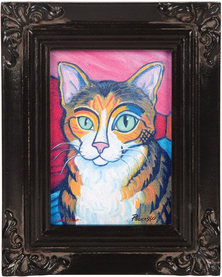 Brown Tabby Pawcasso Framed Canvas Art Framed Canvas Art - Beloved Gift Shop
