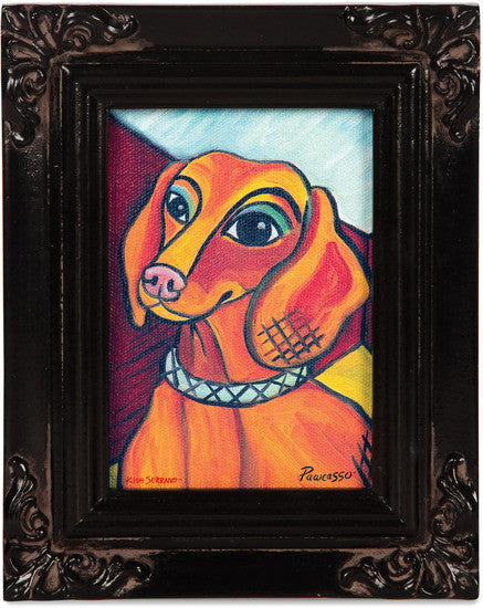 Dachshund Pawcasso Framed Canvas Art Framed Canvas Art - Beloved Gift Shop