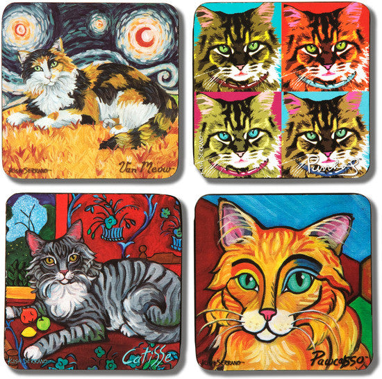 Long Haired Cats (Set of 4 ) Beverage Coasters