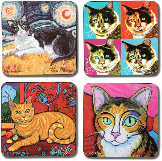 Short Haired Cats Beverage Drink Coasters (Set of 4) (DISC) Beverage Coasters - Beloved Gift Shop
