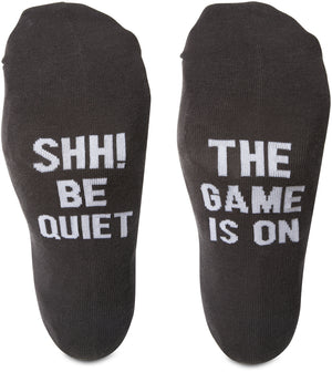 Shh! Be quiet the game is on Mens Cotton Blend Socks Socks - Beloved Gift Shop