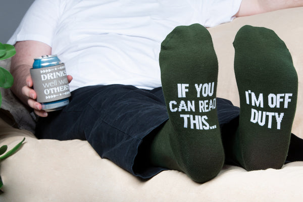 If you can read this... I'm off duty Men's Cotton Blend Socks Socks - Beloved Gift Shop