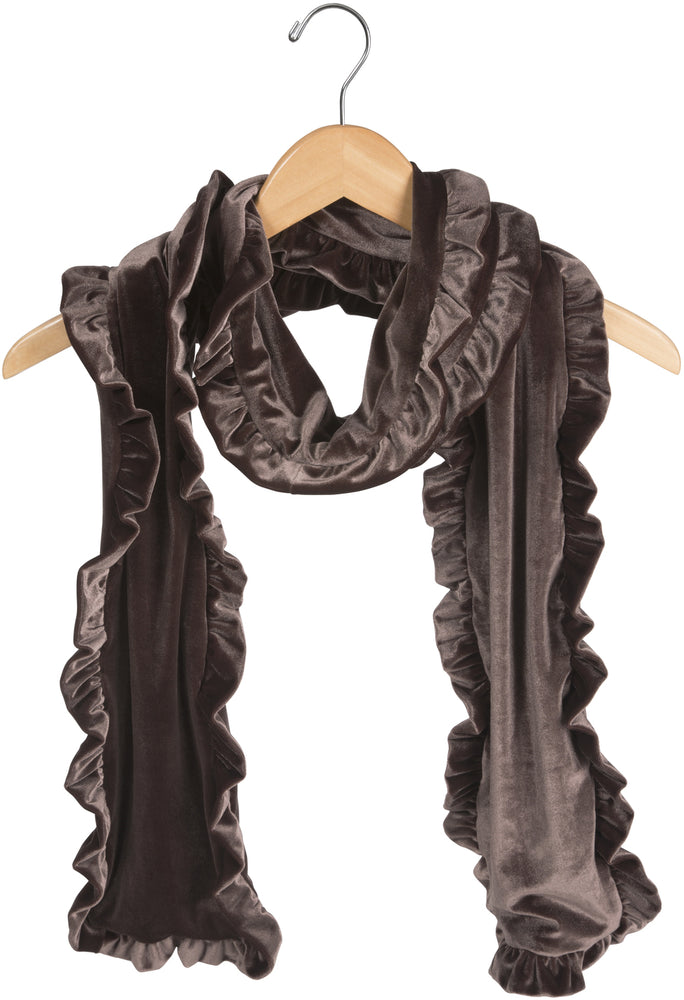 Coffee Ruffled Velvet Scarf