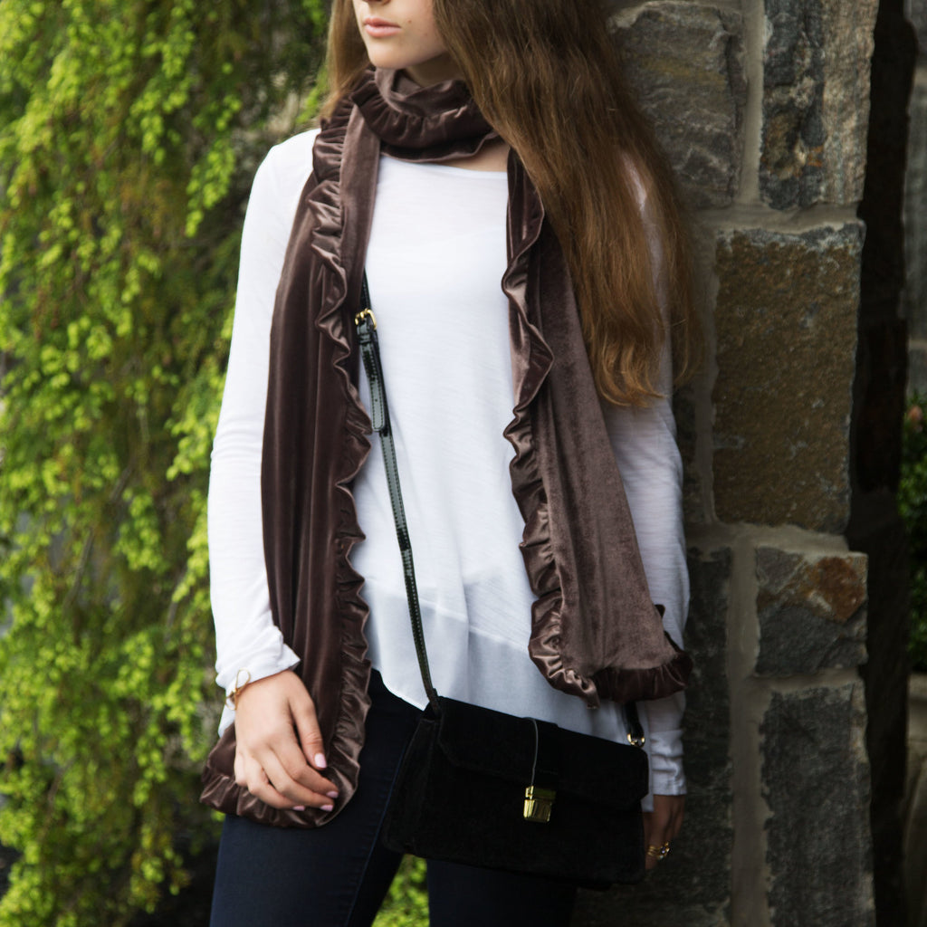Coffee Ruffled Velvet Scarf by H2Z Velvet - Beloved Gift Shop