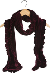 Burgundy Wine Ruffled Velvet Scarf
