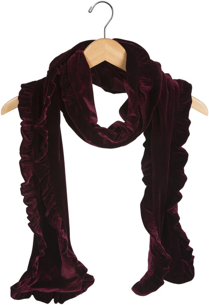 Burgundy Ruffled Velvet Scarf Velvet Scarf - Beloved Gift Shop