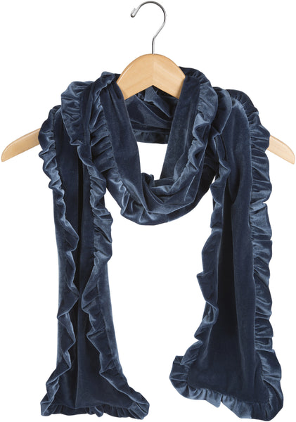 Slate Ruffled Velvet Scarf Velvet Scarf - Beloved Gift Shop