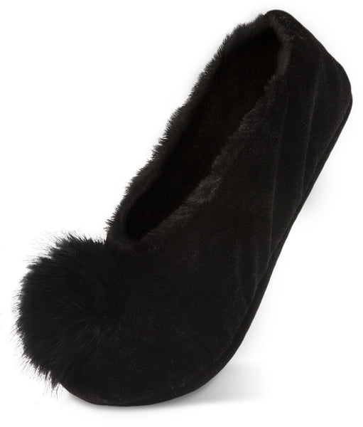 Silky Smooth Ladies Pompom Black Velvet Slipper Slippers - Beloved Gift Shop