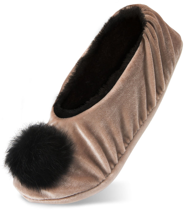 H2Z Silky Smooth Ladies Pompom Almond Velvet Slipper Velvet Slippers - Beloved Gift Shop