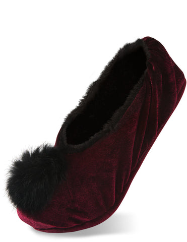 Silky Smooth Ladies Pompom Wine Velvet Slipper Slippers - Beloved Gift Shop