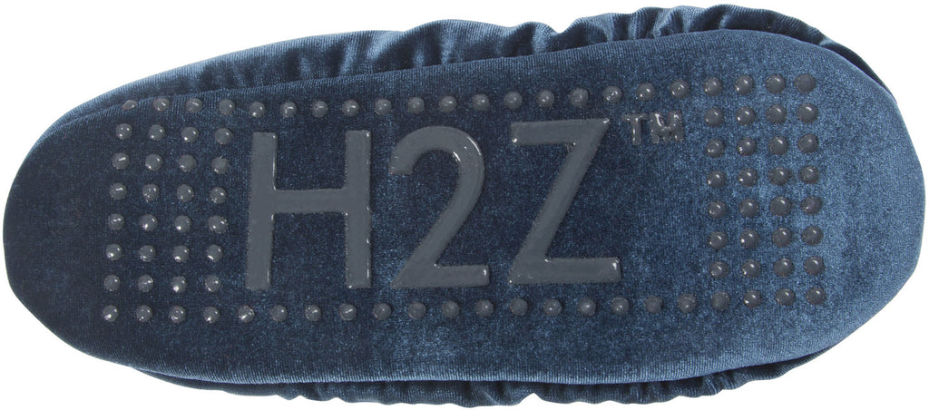 H2Z Silky Smooth Pompom Slate Ladies Velvet Slipper Velvet Slippers - Beloved Gift Shop