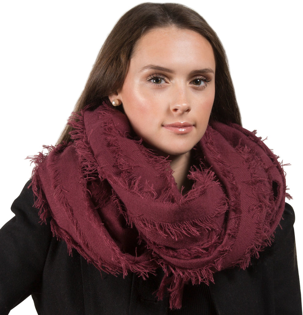 Maroon Oversized Frayed Scarf Scarf - Beloved Gift Shop