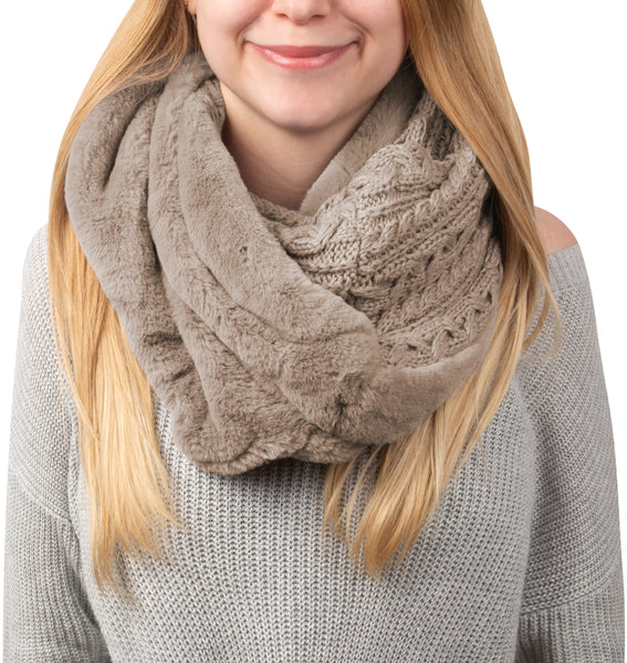 Soft Beige or Winter Cream - Cable Knit & Faux Fur Infinity Scarf
