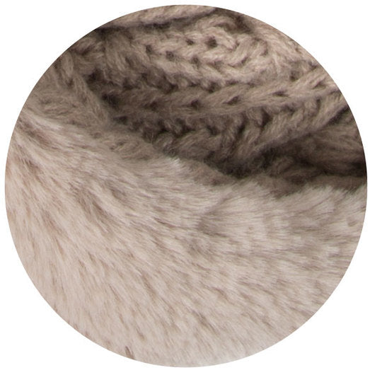 Soft Beige or Winter Cream - Cable Knit & Faux Fur Infinity Scarf Soft Scarf - Beloved Gift Shop