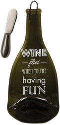 Wine flies when you're having Fun Wine Bottle Serving Tray & Spreader
