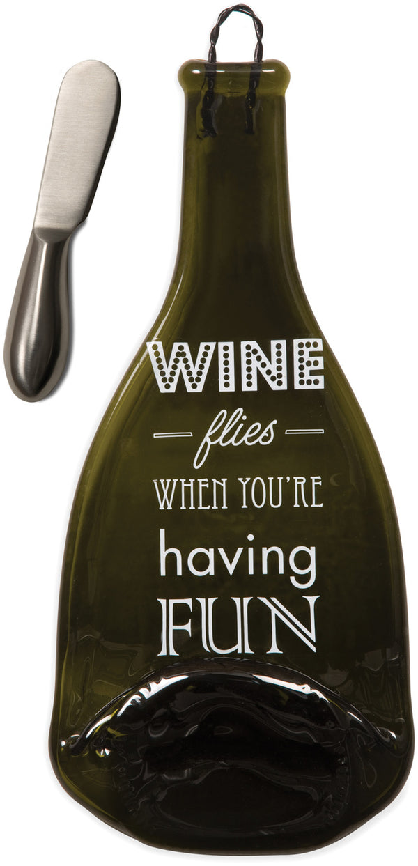 Wine flies when you're having Fun Wine Bottle Serving Tray & Spreader Serving Tray & Spreader - Beloved Gift Shop