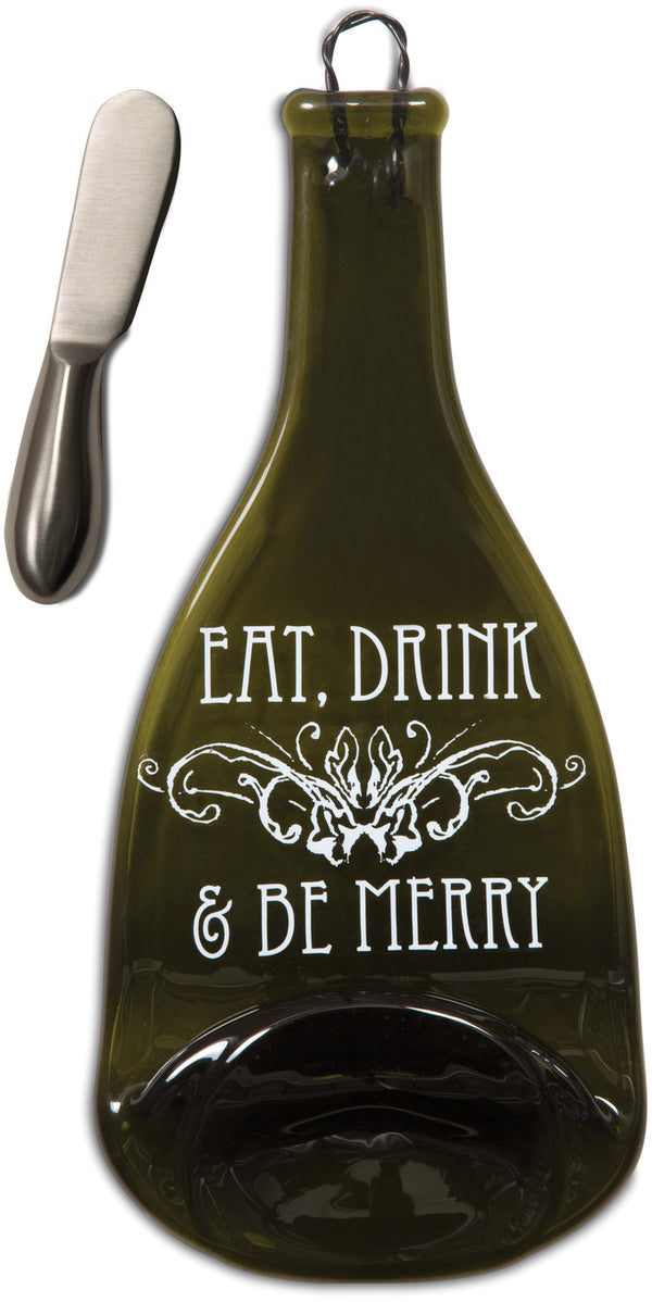 Eat, Drink & Be Merry Wine Bottle Serving Tray & Spreader Serving Tray & Spreader - Beloved Gift Shop