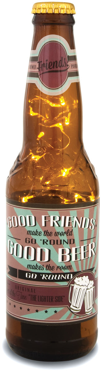 Friends! Good Friends make the world go 'round. Good Beer makes the room go 'round. 16oz LED Lit Beer Bottle Lantern Lamp Beer Lantern - Beloved Gift Shop
