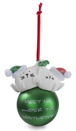 Meet me under the mistletoe Christmas Ornament by Blobby Cat - Beloved Gift Shop