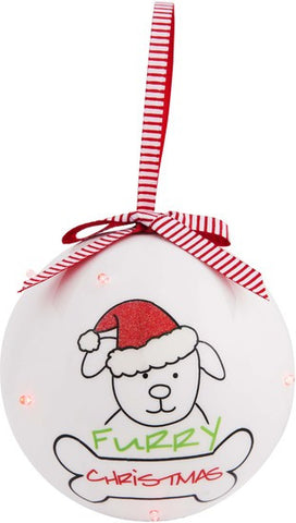 Furry Christmas - 100 MM Blinking Christmas Ornament by Blobby Dog - Beloved Gift Shop
