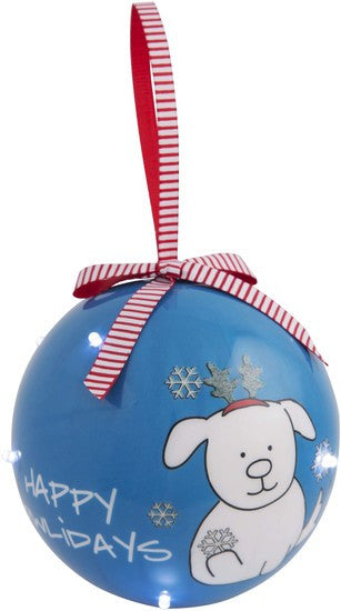 Happy Howlidays - 100 MM Blinking Christmas Ornament by Blobby Dog - Beloved Gift Shop