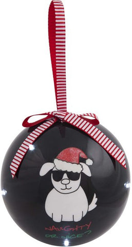 Naughty or Nice? - 100 MM Blinking Christmas Ornament by Blobby Dog - Beloved Gift Shop