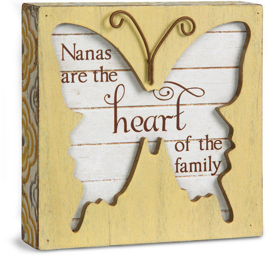 Nanas are the heart of the family Butterfly Plaque Plaque - Beloved Gift Shop
