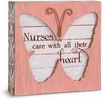 Nurses care with all their heart Butterfly Plaque