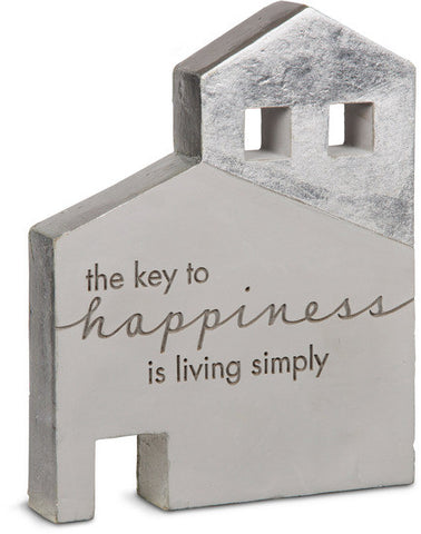 The key to happiness is living simply - Cement House Plaque by Sweet Concrete - Beloved Gift Shop