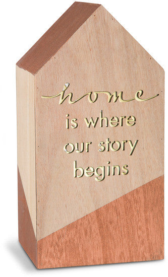 Home is where our story begins LED Lit Wooden House