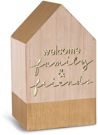 Welcome family and friends LED Wooden House