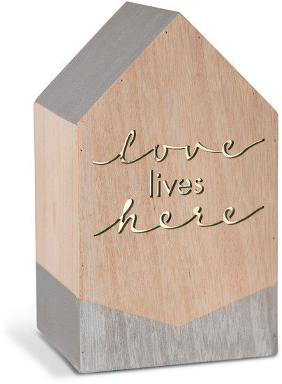Love Lives Here - LED Lit Wooden House by Sweet Concrete - Beloved Gift Shop