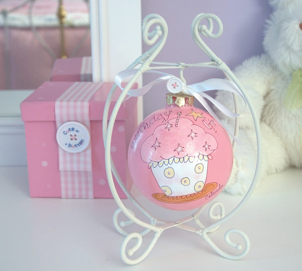 "Birthday Girl - 4"" Glass Ball Cupcake/St Glass Ball Ornament - Beloved Gift Shop"