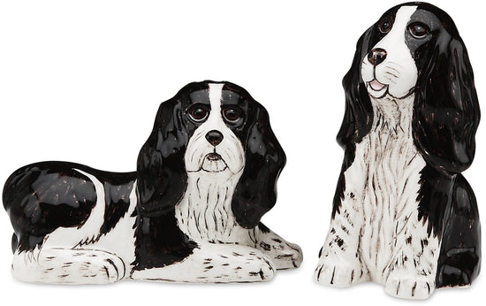 Flame & Crystal Spr Spaniel Dog Salt and Pepper Shaker Set