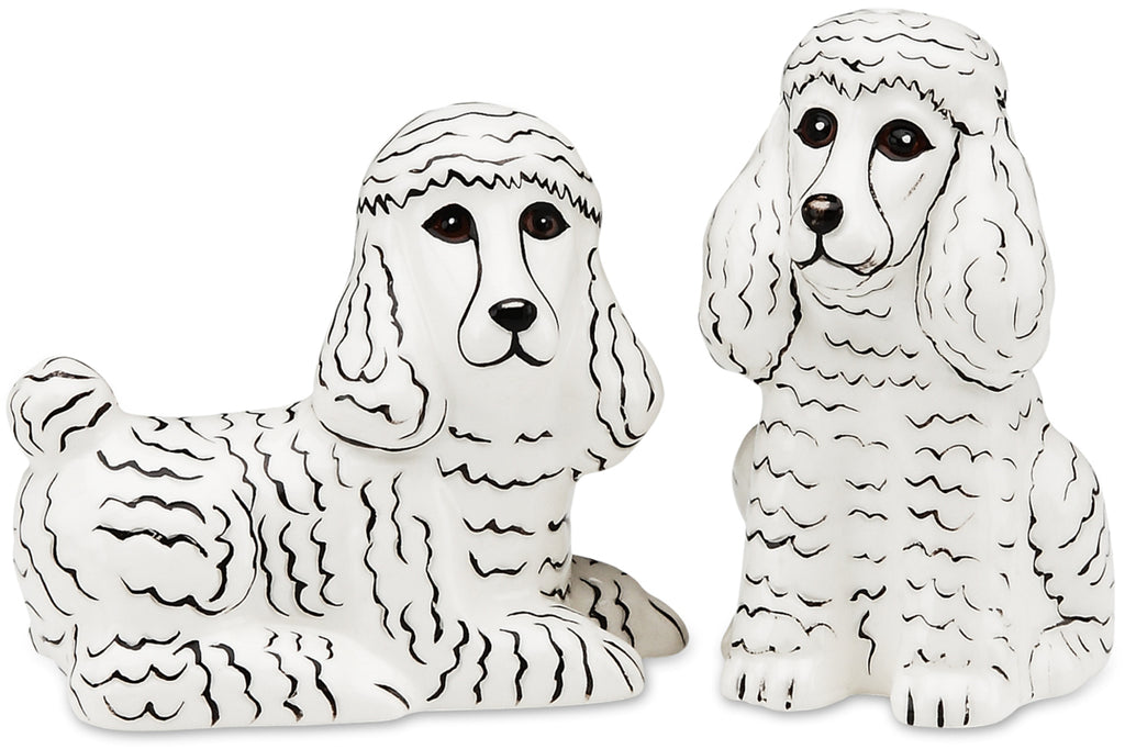 Triximae & Marshmallow White Poodle Dog Salt and Pepper Shaker Set S & P Shakers - Beloved Gift Shop