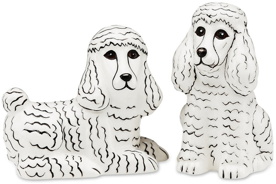 Triximae & Marshmallow White Poodle Dog Salt and Pepper Shaker Set