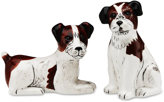 Chloe & Bob Jack Russell Dog Salt and Pepper Shaker Set